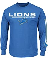 Detroit Lions Majestic Primary Receiver V Long Sleeve Men's T-Shirt - Blue