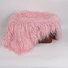 NUOLUX Baby Newborn Fur Photography Photo Props Blanket Rug Beanbag Background Backdrops (Pink)