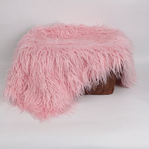 NUOLUX Baby Newborn Fur Photography Photo Props Blanket Rug Beanbag Background Backdrops (Pink) ()
