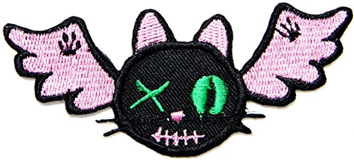 Cat Costume Halloween Kitty Diy (Halloween Bat Vampire Kitty Cat Logo Lady Rider Biker Patch Iron on Embroidered Jacket T shirt Sign Badge)