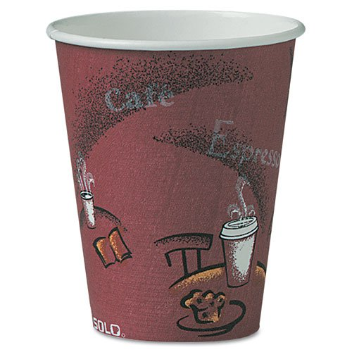 Solo Bistro Design Hot Drink Cups, Paper, 8oz, Maroon, 500/Carton Dart Big Drink Cup