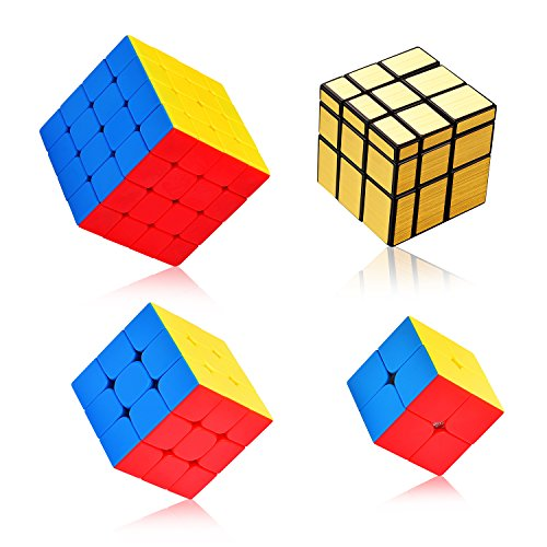 Rubiks Cube Original 3x3 Puzzle (Ganowo Speed Cube PuzzleSmooth Magic Cube Set | Toy Bundle Pack | Brain Teaser Puzzle Gift (Gold Mirror+2x2,3x3,4x4 stickerless))