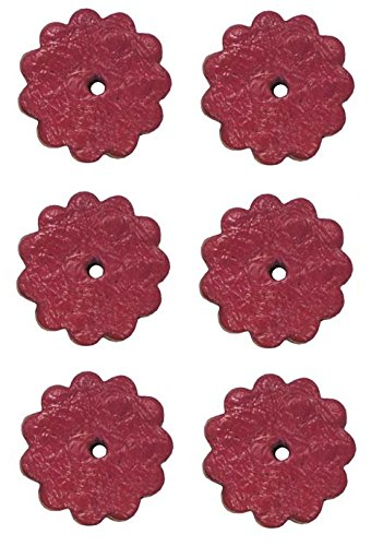 Tahoe Ostrich Print 1.5 inch Leather Rosettes Lot of 6 - Pink