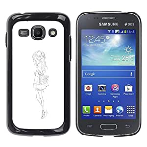 Shell-Star Arte & diseño plástico duro Fundas Cover Cubre Hard Case Cover para Samsung Galaxy Ace 3 III / GT-S7270 / GT-S7275 / GT-S7272 ( Fashion Sketch White Black Dress )