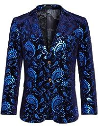 820d090a39f6 Men's Luxury Casual Dress Floral Suit Notched Lapel Slim Fit Stylish Blazer  Jacket Party Coats