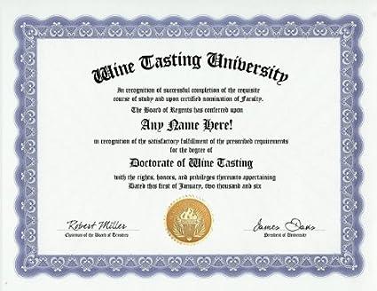 Amazon.com: Wine Tasting Wine Taster Degree: Custom Gag Diploma ...