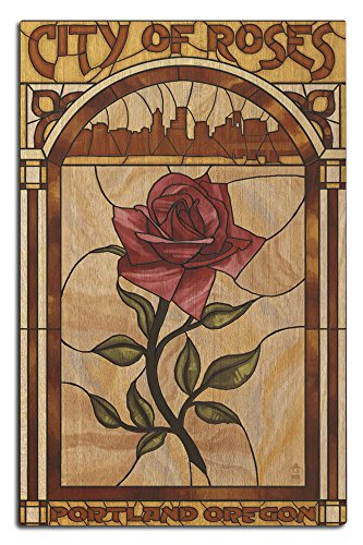 Portland, Oregon - Rose and Skyline Stained Glass (12x18 Wood Wall Sign, Wall Decor Ready to Hang) (Stained Glass Portland)