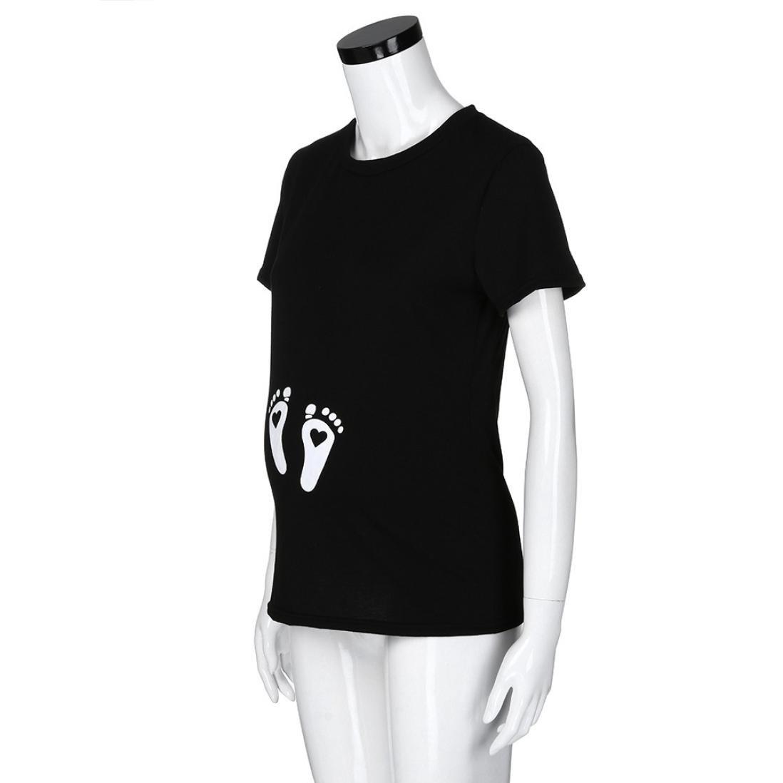 b44b44fb1 Gusspower Mujer Blusa Mangas Corta Estampado Ropa premamá Camiseta de Huella  para la Maternidad Huellas del bebé(Negro)  Amazon.es  Ropa y accesorios