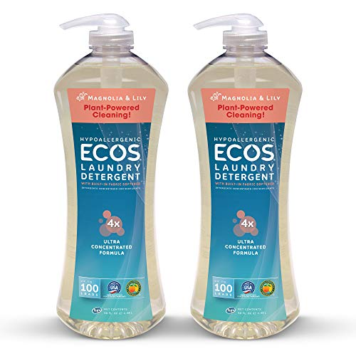 Earth Friendly Products Ecos 4X Ultra Concentrated Liquid Laundry Detergent, 200 Loads, 2 x 50 oz Magnolia & Lily ()