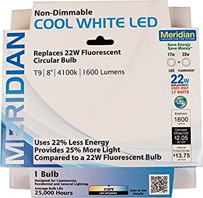 """Meridian Electric 13144 Meridian 22W Equivalent LED Circline Bulb, 8"""""""