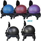 """Isokinetics Inc. Adjustable Back Exercise Ball Office Chair - Standard or (Exclusive) """"Tall Boy"""" Frame Height - with 52cm Ball - Office size 60mm/2.5"""" wheels - w/Starter Pump and Ball Measuring Tape"""