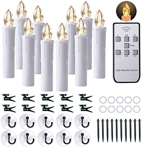 CXMYKE 10PCS LED Window Candles with Remote Updated Timer Function – Battery Operated Christmas Flameless Taper Candles with Warm White Flicker Light – Perfect for Wedding Party Birthday Decoration