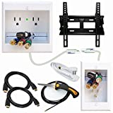 PowerBridge Solutions TWO-CK-IKH2TVMS Dual Outlet Cable Management System with Flat Screen LED TV Mount for 17-Inch to 37-Inch Television Screens Plus HDMI Cables, Cable Puller, and Drywall Saw