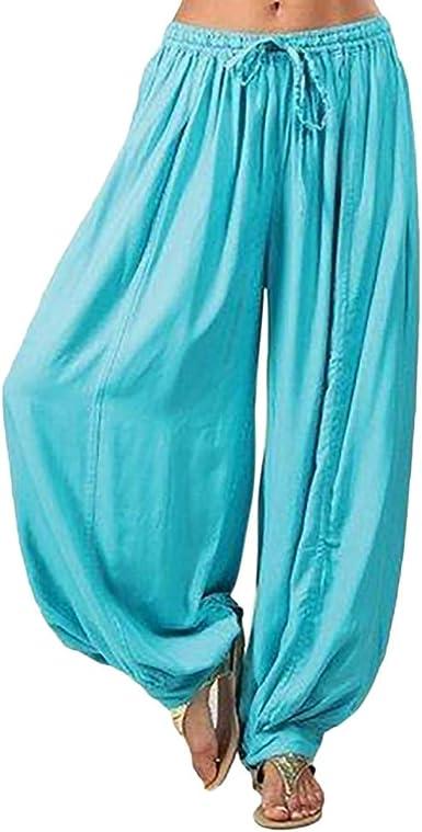 Plus Size Women Long Trousers Cotton Linen Palazzo Harem Pant Hippy Loose Baggy