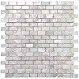 bathroom wall tile  Mother of Pearl Shell Mosaic Tile for Kitchen Backsplashes/Bathroom Tile, White Subway Mosaic Tiles (6 Pack)