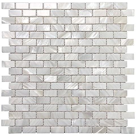 Art3d Mother of Pearl Shell Mosaic Tile for Kitchen Backsplashes / Bathroom Tile, White Subway Mosaic Tiles (6 - Mother Of Pearl Wall Art