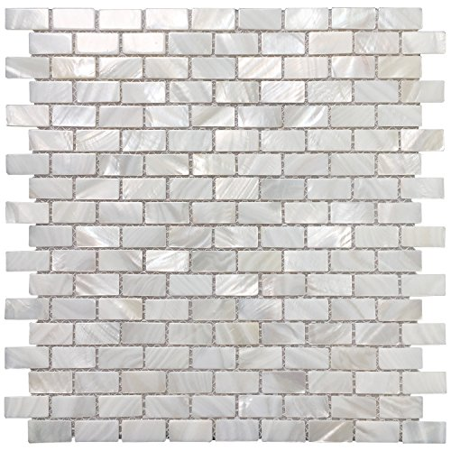 Mother of Pearl shell mosaic rectangular kitchen backsplash.