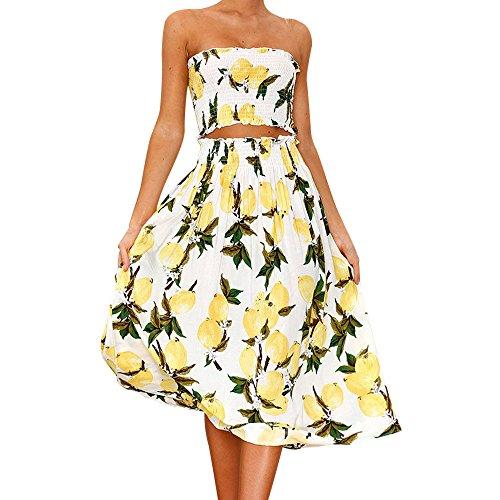 (haoricu Women Dress, 2017 Women Off Shoulder Bohemian Printed Sexy Crop Tops + Maxi Long Skirt Dress Set (M, Yellow))