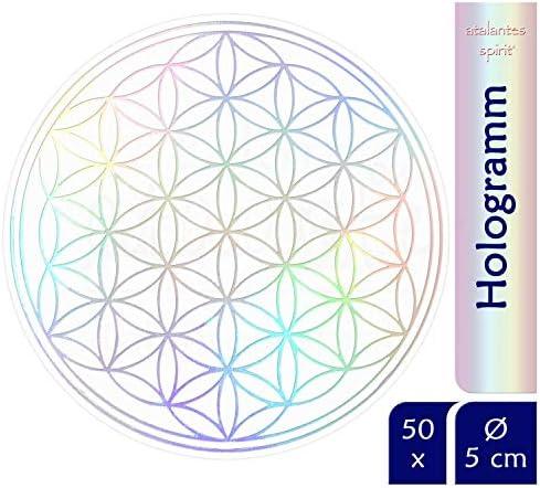 atalantes spirit Blume des Lebens Aufkleber Abriebfest - Hologramm Rainbow metallic, 5cm, 50 Stück - Sticker Folie durchsichtig