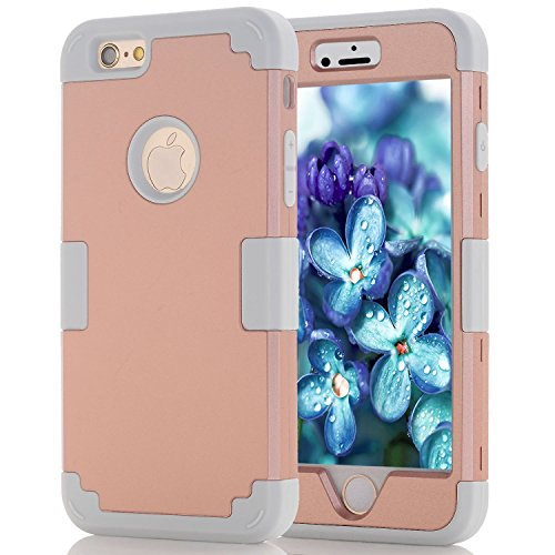 Hard Plastic Soft Silicone Case iPhone 6 Case Defender, Cell Phone Case iPhone 6S Case for Girls, Heavy Duty Cute Case iPhone 6 Shockproof Cover Rose Gold Case iPhone 6 Protective Case for iPhone 6S/6