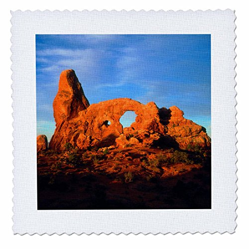 3dRose USA, Utah, Arches National Park. Arches at Sunset. - Quilt Square, 6 by 6-Inch (qs_208772_2) (6 Park Square)