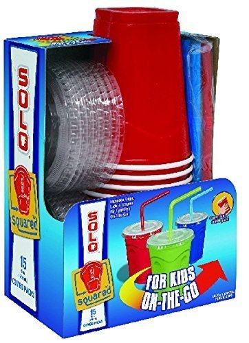 Ounce Fun 9 Cups - Solo 9 Oz Plastic Cup, Lid, & Straw Combo Pack, 15 Cups, Red