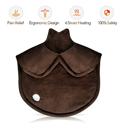 Heating Pad Neck and Shoulder Heating Pad Heat Therapy Pad for Pain Relief, Non-Slip Fast Heating Wrap Electric Heating Pad with Soft Fabric. 6 Adjustable Setting with Ultra Soothing Heat ()
