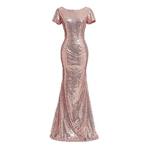 Sequin Formal Gown - Honey Qiao Rose Gold Short Sleeves Bridesmaid Dresses Long High Back Formal Gown