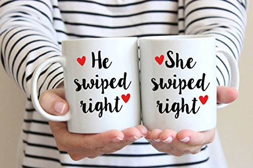 He Swiped Right She Swiped Right Coffee Mug Set,Valentines Day Mug, Wedding Gift, Valentines Gift, Engagement Gift,Coffee Lover Gifts,Gifts for him for her Laurel Pulitzer