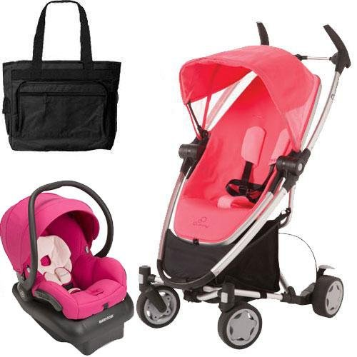 Quinny Zapp Xtra Folding Seat Stroller Travel system with diaper bag and car seat - Pink Precious