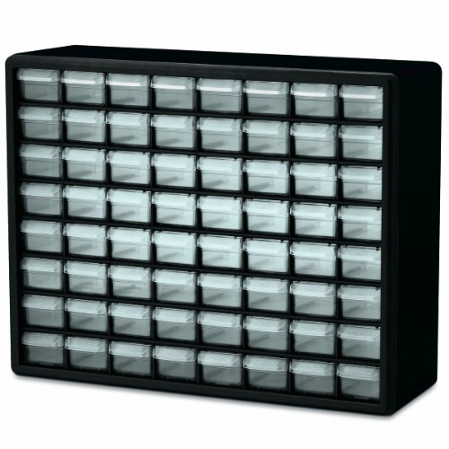 Akro-Mils 64 Drawers Plastic Parts Storage Hardware and Craft Cabinet, Black
