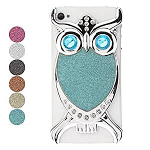 Silver Owl Pattern Flash Powder Hard Case for iPhone 4/4S --- COLOR:Blue
