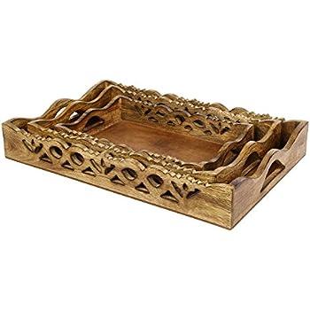 Superb Icrafts Wooden Serving Tray Platter Set Of 3 Large Medium Small For Tea  Snack Dessert Kitchen Nice Design