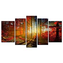 SmartWallArt - Natural Landscape Series Home Decor Artwork Sunlight Filtered Through the Red Forest Wall Art 5 Piece Paintngs Print on Canvas Framed for Living Room