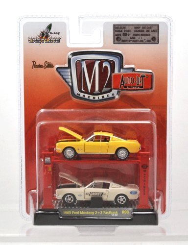 2 fastback Yellow M2 MACHINES 1:64 AUTO-LIFT 2-pack 1965 Ford Mustang 2 White 2 Fastback M2 Machines one sixty-four scale auto lift 2 pack 1965 Ford Mustang 2
