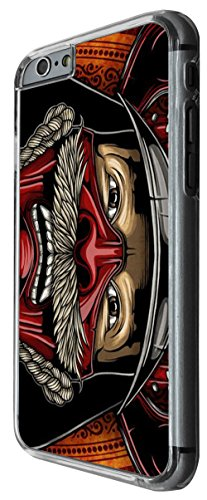 1100 - cool fun samurai head illustration ancient art helmet japanese chinese fighters Design For iphone 5 5S Fashion Trend CASE Back COVER Plastic&Thin Metal -Clear