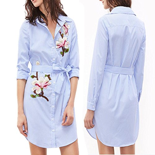 Leedford Women's Vertical Striped Embroidered Floral Long Sleeve Shirt Dress with Belt (M, Blue)