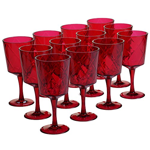 (Certified International Ruby 13 oz Acrylic All Purpose Goblets (Set of 12), Ruby)
