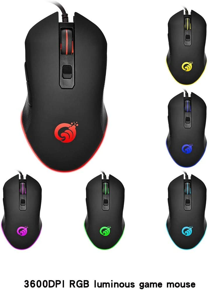 6 Programmable Buttons Optical Laptop PC Gamer Gaming Mice with Professional Game Chip USB Ergonomic Computer Mice with RGB Backlit Barcley Gaming Mouse Wired Black 3600 DPI Adjustable