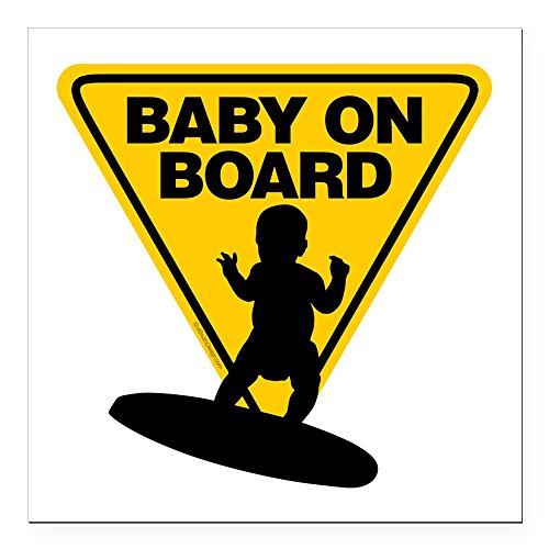 CafePress - Baby On Board (Surfboard) Square Car Magnet 3