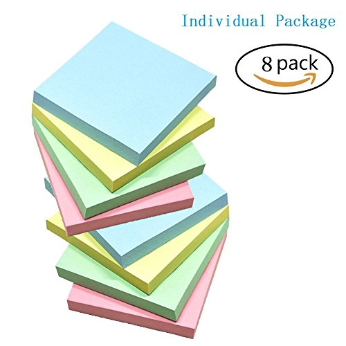 Sticky Notes, Memo Self-Stick 8 Pads/Pack,100 Sheets/Pad, 3 inch X 3 inch, Squares 4 Colors Child Fresh Easy Post
