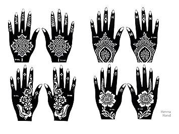 8 Sheets STENCILS TATTOO Mehndi TemplateTattoo Set 1 Henna Designs For Hand
