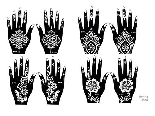 8 Feuille Mehndi Tatouage Pochoir pour la main Mehndi Tatouages au henné - à usage unique - pour tatouage au henné, tatouage paillettes et aérographe tatouage GLA henna1