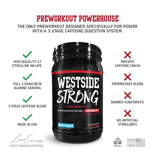 Westside Performance Nutrition Strong Preworkout Specifically Designed for Power with Citrulline Malate, Beta Alaine and 3 Stage Caffeine Delivery Complex - 30 Serving, Blue Slushy (Blue Slushy)