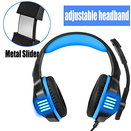 KJ-KayJI Gaming Headset for PS4 Xbox One Over Ear Gaming Headphones with Mic Stereo Bass Surround Noise Reduction,LED Lights and Volume Control for Laptop PC Mac IPad Computer Smartphones Xbox (Blue) by KJ-KayJI (Image #7)'