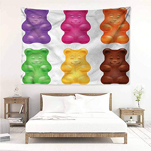 Sunnyhome Wall Tapestry for Bedroom,Children Colorful Jelly Gummy Bears,Wall Tapestry for Bedroom,W71x59L