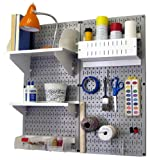 Wall Control 30-CC-200 GW Hobby Craft Pegboard Organizer Storage Kit with Gray Pegboard and White Accessories