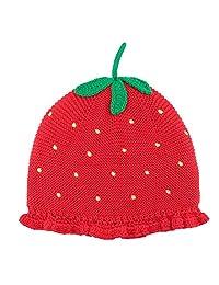 Beanie Hat Strawberry Hat Kids Baby Girls Cartoon Autumn Winter Red Ski Knitted Cap