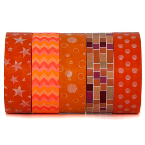 Tangerine Orange Themed Decorative Washi Masking Tape - For Scrapbooking, Art & Decoration Projects - Orange, Polka Dot, Zig Zag, Stars, Bubbles - (15mm x 10m) - By Washi.Design (Tangerine)