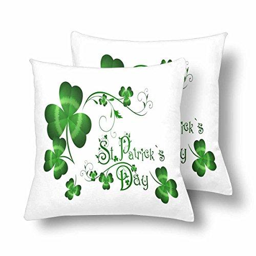 InterestPrint Custom St. Patricks Day Lucky Clover 18x18 Pillow Cover Cushion Case, Saint Patricks Day Green Cotton Zippered Throw Pillowcase Protector Decorative, Set of 2